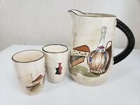 Vintage Capri Set by Royal Sealy Made in Japan Wine Pitcher with 2 Tumblers