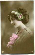 CPA - Carte Postale - Fantaisie - Portrait de Femme - Fleurs - 1912 (M7846)
