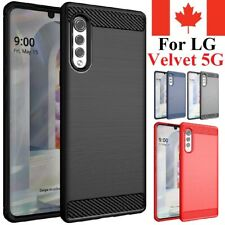 For LG Velvet 5G - Case Carbon Fiber Protective Shockproof Soft TPU Cover