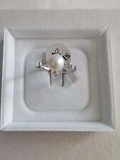 Anello donna argento 925,perla bianca,zirconi 12-16  San Valentino Ring Pearl