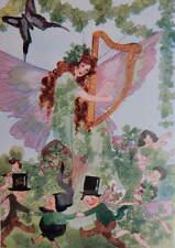 St Patricks Day Fairies with Harp vintage art
