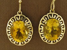E090 Genuine 9ct Gold Natural LARGE Citrine Drop Earrings Versace's Grecian key