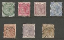 GIBRALTAR SG8-14 THE 1886-7 SET OF 7 MIXED MINT AND USED CAT £608