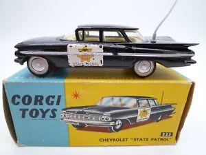 VINTAGE CORGI 223 CHEVROLET IMPALA STATE PATROL CAR IN ORIGINAL BOX 1959-61
