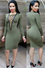 Abito aperto Nudo aderente Lacci Midi string Lace up Bodycon Dress clubwear M