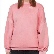 AllSaints Storn Round Neck Cotton Sweatshirt, Pink, SIZE XS-L