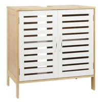 Waschbeckenunterschrank Bambus + MDF weiß Badschrank Waschtischunterschrank