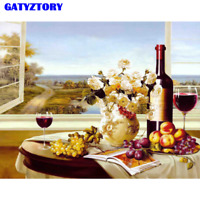 Fruits and Wine Still Life Canvas Picture Oil DIY Paint Set by Numbers Kits Gift