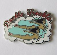 DOUBLE TROUBLE GIRLS CLASSIC NOSE ART USAF USA LAPEL PIN BADGE 1 INCH