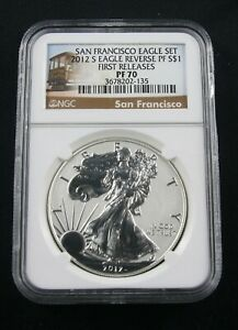 2012 S SILVER EAGLE REVERSE PROOF SAN FRANCISCO SET NGC PF 70 FIRST RELEASES