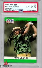 Payne Stewart signed 1990 Pro Set Trading Card PSA DNA Masters US Open C459