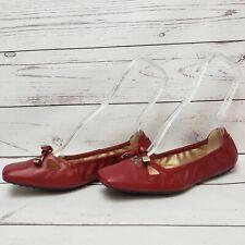 Tod's Women's Size 7 Red Leather Degas Flattie Tassel Ballet Flats