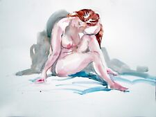 Female Nude Watercolor Painting Keith Gunderson