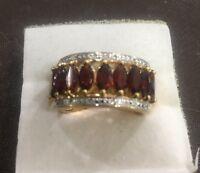 Gold Over Sterling Silver Garnet Ring Sz 5.75