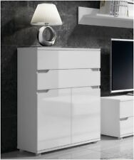 Aspire High Gloss White Tall Sideboard Storage Chest of Drawers Furniture