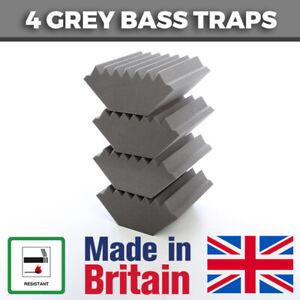 4 Grey Acoustic Foam Bass Traps Corner Traps For Studio Sound Acoustic Treatment