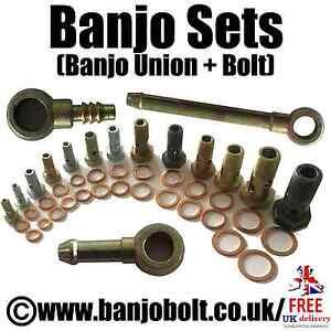 Banjo Union and Banjo Bolt 2pc Set. (Inc. Washers) (Various Sizes)