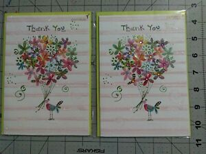Papyrus Jeweled Sparkle Flowers Thank You Cards 2 count