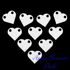 NEW Lego Lot/10 Valentine's Day WHITE HEARTS Minifig Wedding Charm Pendants