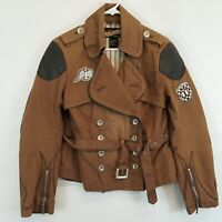 Icon Motorsports Moto Brown Canvas Womens Sz L Motorcycle Padded Jacket