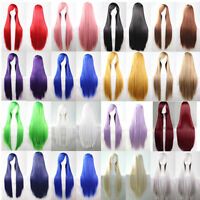 80CM Fashion Full Wig Long Straight Wig Cosplay Costume Party Anime Hair