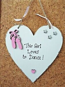 This Girl Loves To Dance wooden heart sign plaque personalised Ballet gift