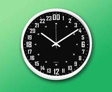 """24 Hours Wall Clock 11.5""""(29.2cm) Round White, Black Face"""