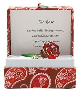 Love Red Glass Rose Sentiment Gift With Message of Love