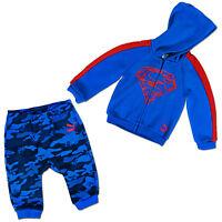 PUMA Niño Bebé Superman Set Primer Traje Capucha + pantalones azules superheld