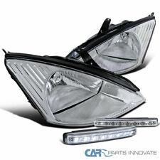 Chrome For 00-04 Ford Focus ZX4 Headlights Clear Head Lamp+8-LED Bumper Fog Lamp
