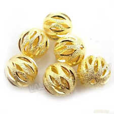 20x Hottest Gold Plated Carved Sparkle Spacer Beads Charms Fit Jewelry Making LC