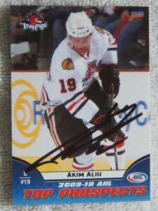 Chicago Blackhawks Akim Aliu Signed 2009/10 AHL Top Pros Rockford Ice Hogs Card