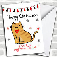 Ginger Tabby From Or To The Cat Pet Christmas Customised Card