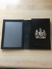 Hand crafted, leather ID Card Holder with HM coat of arms crest