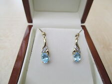 9ct yellow gold  & Blue Topaz Diamond drop Earrings *NEW*