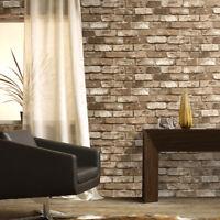 Vinyl Vintage Faux Stone Brick Wallpaper Textured Lt.Brown Home Kitchen Wall