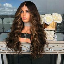 UK Women Ladies Brown Synthetic Full Hair Wig Long Wigs Wavy Full Wigs Curly New