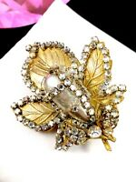 RARE 1940'S MIRIAM HASKELL FRANK HESS ROSE MONTEE FAUX PEARL FLORAL LEAF BROOCH