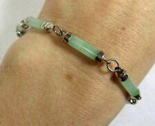 """Vintage Sterling Silver Green Jade Cylinder Link Bracelet, H&I 7.25"""""""