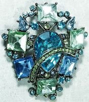 Spectacular Brooch Austrian Crystals Ocean Blue Tones NEW ***LAST ONE***