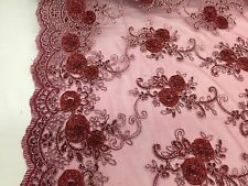 3D RIBBON FLOWERS EMBROIDER WITH SEQUINS ON A BURGUNDY MESH-SOLD BY THE YARD.