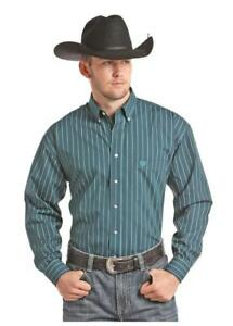 Panhandle Slim Men's Dark Teal & Turquoise Printed Snap Up Shirt 36S7714 36X7714