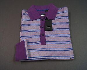 HUGO BOSS 'Prato 09' Regular Fit Double Stripes Contrast Collar Polo Shirts NWT