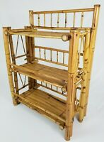 Antique Bamboo Rattan Bookcase Curio Shelf Mid-Century Chinoiserie Vintage