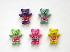 12 Resin Teddies / Teddy Bears, Assorted colours, cardmaking, scrapbooking