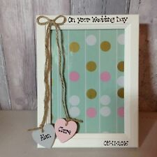 Personalised Wedding Engagement Photo Frame 5x7 Wooden Hearts Wedding Gift