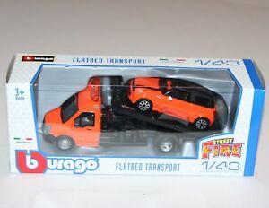 Mini Cooper in Orange 1:43 scale burago New in Box Flatbed Car Transporter