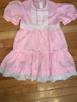 Vintage Pink White Dots Tiered Ruffle 80's Sz 4 Dress Handmade Lace Short Sleeve