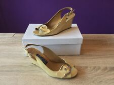 Stuart Weitzman For Russell & Bromley Beige Patent Leather Wedge Sandals. UK 5.5