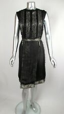 NWT 100% Auth RARE Hiver 2010 Runway LANVIN Blk & Gold Lame Inside Out Dress 40